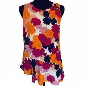 NWT Maison Jules Floral Peplum Sleeveless Top S